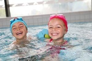 Kids having fun at the swimming pool